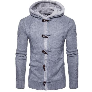 Men Autumn Winter Solid Hoodie Hooded Cardigan Coat Knitting Swe