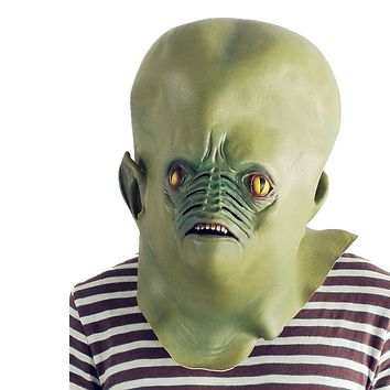 Giant Green Alien Mask Natural Latex Halloween Cosplay