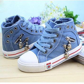 Kids Canvas Sneakers Boys Flats Girls Denim Boots Children Casual Jeans Plimsolls Sports Shoes