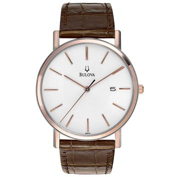 Mens Bulova Dress Duets Watch in Rose Gold Tone Stainless Steel with Brown Leather Strap (98H51)