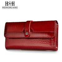 Designer Wallet Genuine Leather Faux Aligator Pattern on Cowhide Women's Purse Three Fold Large Capacity Clutch 7 Colors FREE SHIPPING