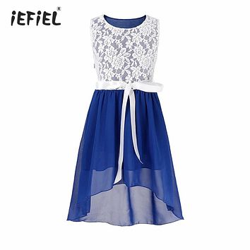 iefiel Kids Girls Dress Flower vestido Chiffon Pageant Party Floral Lace Girls Dress Princess Bridal Birthday Party Formal Dress