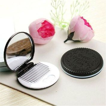DCCKJY1 Cute Chocolate Cookie Shaped Design Makeup Mirror with Comb Lady Women Makeup Tool Pocket Mirror Home Office Use 2017 Hot Sale