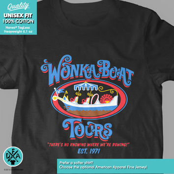 New Wonka Boat Tours Chocolate Factory Funny Logo Youth Kids Shirt and Toddler Willy Wonka Shirt Sizes