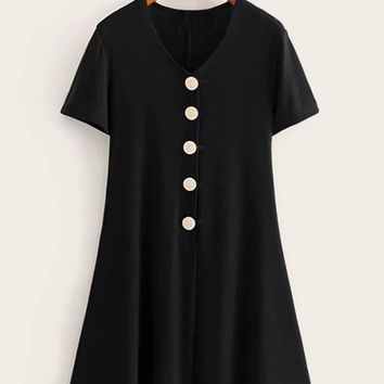 V-neck Button Front Swing Dress