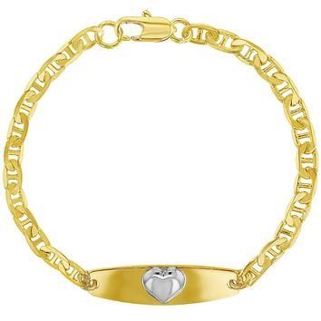 """18k Gold Plated Two Tone Heart Tag ID Identification Bracelet for Girls 6"""""""