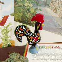 Vintage Portuguese rooster Barcelos ceramic figurine folk good luck charm home decor handpainted made in Portugal
