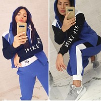 NIKE New fashion  letter hook print long sleeve coat and pants two piece suit Blue