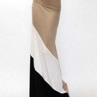 Khaki Color Block Trumpet Maxi Skirt