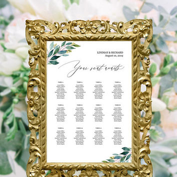 Greenery wedding seating chart template, Editable printable seating chart template, Elegant calligraphy seating chart, Instant download PDF