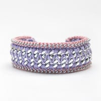 Pastel bracelet, boho bracelet, crochet bracelet with chain, chunky chain bracelet, lilac and pink friendship bracelet