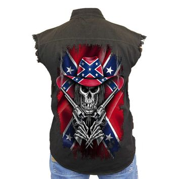 Men's Sleeveless Denim Shirt Confederate Rebel Flag Cowboy Skeleton Biker Vest