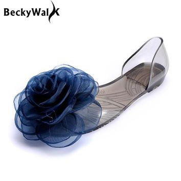 Sweet Flowers Lady Jelly Shoes Women Sandals Flat Summer Shoes Woman Casual Flats Shoe