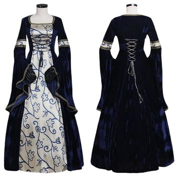 Custom Velvet Gothic Lolita Medieval Renaissance Party Dress Gown Cosplay Costume