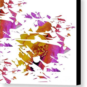 Abstract Acrylic Painting Broken Glass Purple And Yellow Canvas Print