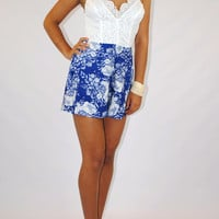 (amm) Lace and flower blue romper