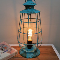 ON SALE Aqua Rustic Lantern Lamp shabby light home decor industrial furniture lighting Edison bulb photo prop side table primitive chicken