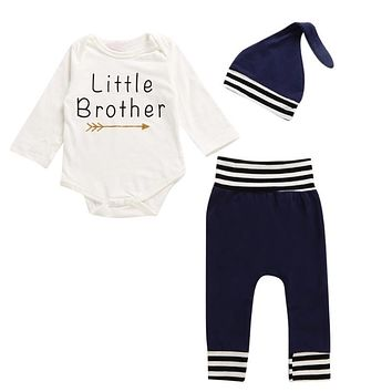 Children Little Brothers Letter Print Long Sleeve Jumpsuit Tops + Pants + Hat Outfits Clothes Baby Boys Girls Clothing Set