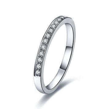 Lovely Band Ring 585 White Gold Breathtaking Quality Synthetic Diamonds Engagement Ring High Quality Guarantee