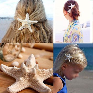 HIRIGIN Hairpin Barrette 1 PC Real Starfish Hair Clip Beach Wedding Bridal Sea Shell Pin Mermaid Boho Style Headwear Romantic