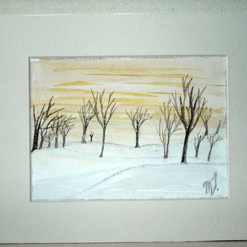 Original Watercolor Landscape ,Painting matted,watercolor art , forest painting ,tree art ,winter painting