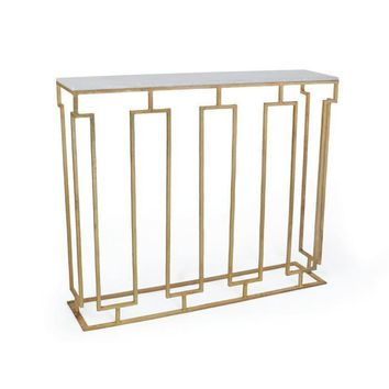 Edinburgh Iron Grill Console Brass and Marble