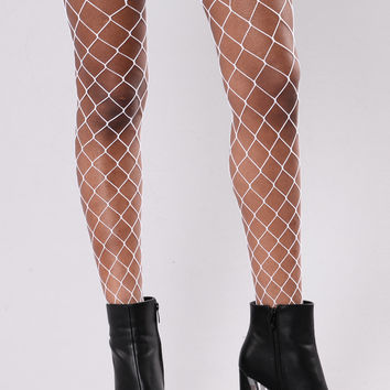 Lucy Fishnets Stockings - White
