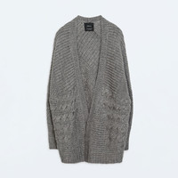 Oversize cable knit cardigan