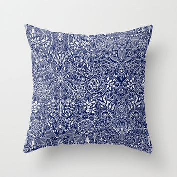 Detailed Floral Pattern in White on Navy Throw Pillow by micklyn