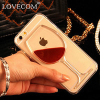 LOVECOM For iPhone 7 For iPhone 4 4S 5 5S SE 5C 6 6S 7 Plus Liquid Quicksand Red Wine Transparent Phone Case Hard PC Back Cover