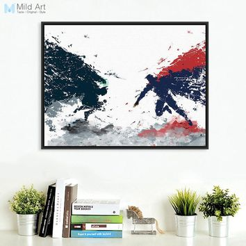 Batman Dark Knight gift Christmas Watercolor Original Batman Superman War Pop Movie A4 Art Print Poster Wall Picture Canvas Painting Custom Kids Room Home Decor AT_71_6