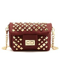STUDDED CHAIN-STRAP CROSS-BODY BAG
