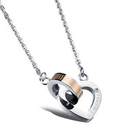 Male and female pendant Carving English diamond Square and circle interlocking loving heart couple necklace for woman only