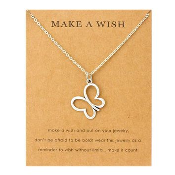 Butterfly Pendants Necklaces Music Note Treble Clef Cancer Ribbon Angel Wings Women Men Unisex Fashion Jewelry Friendship Gift