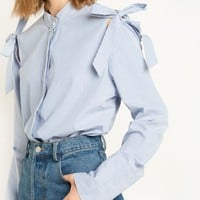 Stripe Cut Out Shoulder Shirt with Ties