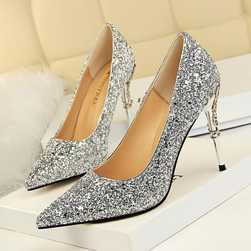 fashion design women's high heel pumps summer see through Party Wedding  shoes women  thin heels Rhinestone Crystal 9219-12