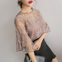 Women O-Neck Tops wild small tape embroidered chiffon blouse