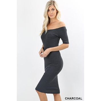 Melanie Ribbed Off The Shoulder Midi Dress (Charcoal)