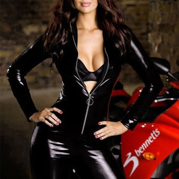 XL XXL Plus Size Women Sexy Racing Club Wear Zentai Catsuits Leather Costume Female Latex Jumpsuit Pole Dance Nightclub Bodysuit