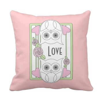 Retro Cute Owls & Roses Personalized Girly Pink Love Throw Pillows: Name / Message Template