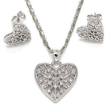 Gold Layered Earring and Pendant Adult Set, Heart Design, with Crystal, Golden Tone