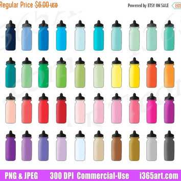 50% OFF Sale Sports Bottle Clipart, Water Bottle Clip Art, Hydrate, Hydration Planner Sticker Graphics,  Fitness, Water Intake, Commercial