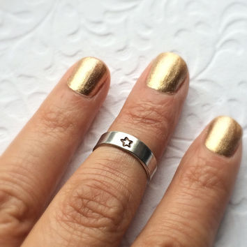 Tiny Star Above the Knuckle or Pinkie Ring / Stackable Ring / Adjustable Ring /  Name Ring / Word Ring