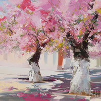 Pink Canvas Art - Beautiful Wall Art, Landscape print, Trees in Blossom Spring Art Print on canvas from original by Yuri Pysar