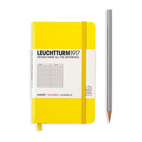 """Leuchtturm 1917 Hard Cover Small (A6) Pocket Journal, Yellow, Squared, 4"""" x 6"""""""