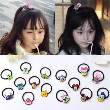 Famous Colorful Cartoon Hair Bands Captain America Headwear Stitch Rubber Rings 2 inch Anime Good Quality Elastic Hairband