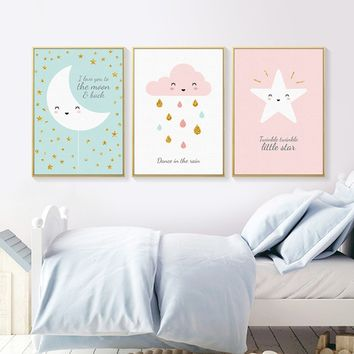 Nordic Style Kids Decoration Gold Rain Dots Posters and Prints Cartoon Wall Art Canvas Painting Wall Pictures Art (Unframed)