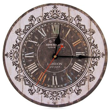 Europe Stylish Retro Tracery Vintage Wall Clock Rustic Shabby Chic Home Office Study Cafe Decoration Art Large Clocks 1597143