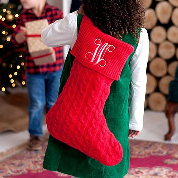 Red Embroidered Cable Knit Christmas Stockings