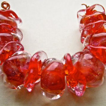 handmade glass lampwork beads boro beads in light ruby sparkle organic beads uniquely shaped by paulbead